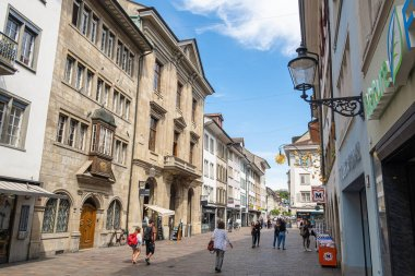 Winterthur, Switzerland - May 7, 2020: An image from the historic old town of Winterthur, the sixth largest city in Switzerland