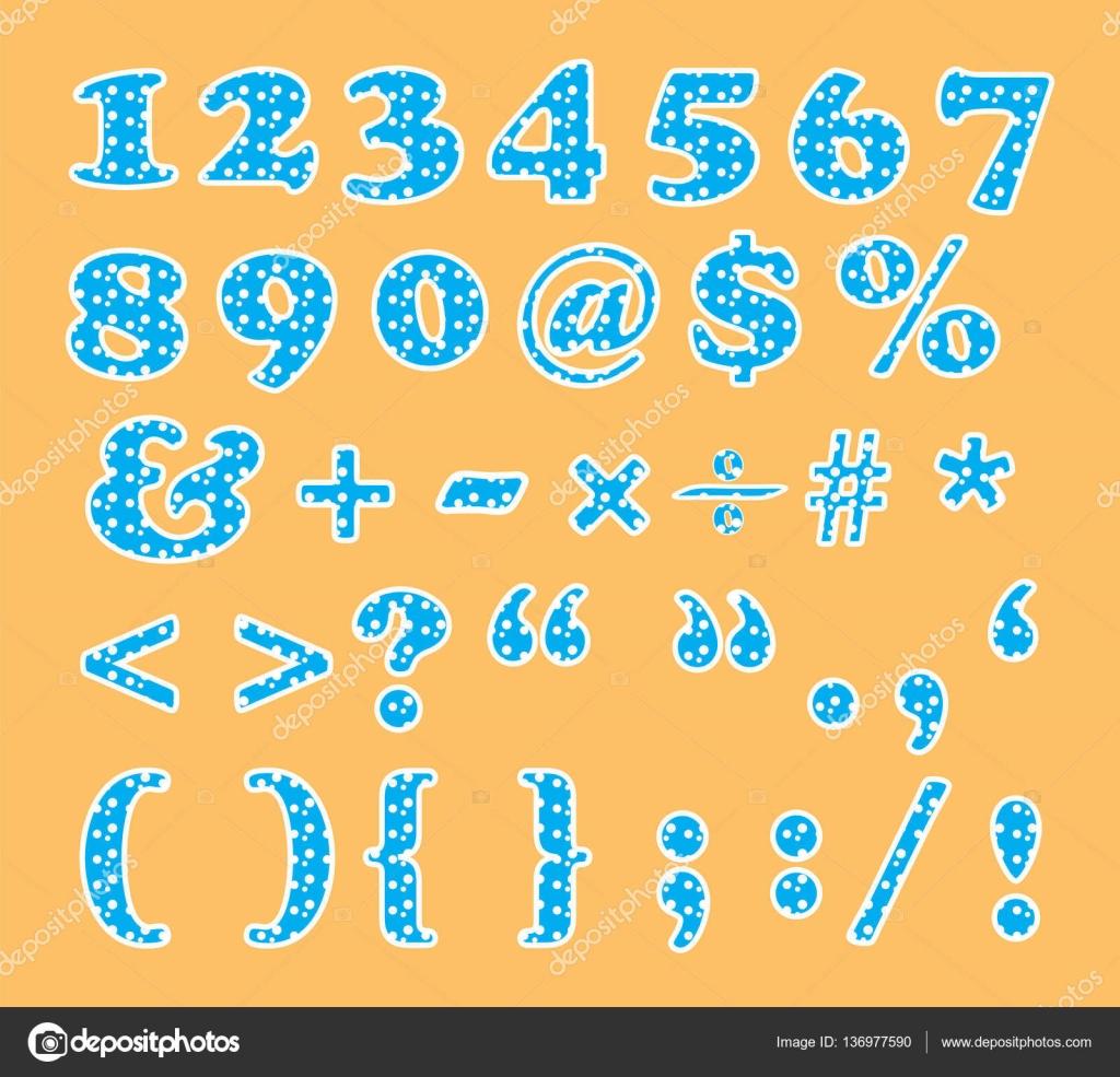 円のパターンで設定記号と数値のかわいいフォント — ストックベクター