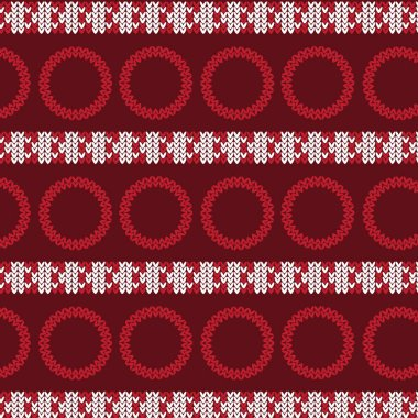red and white vertical triangle striped with red circle knitting