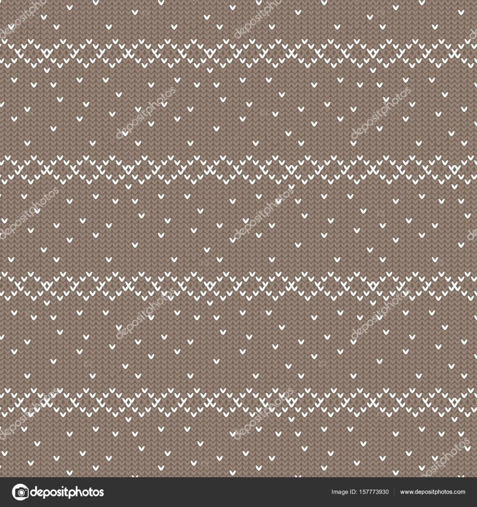 fila de diamantes de color marrón y blanco con punto tejer patrón ...