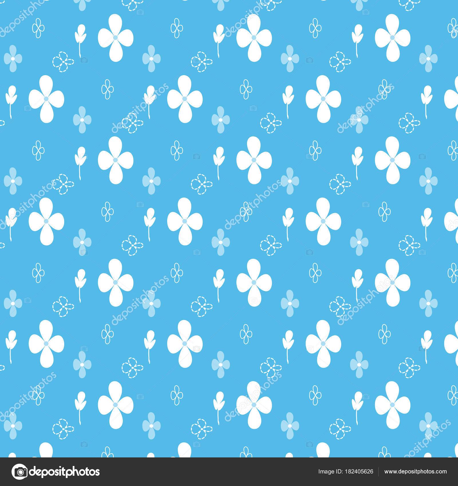 58b3412c76f3 Flor branca azul com linear e flor de linha pontilhada padrão fundo azul —  Vetores de