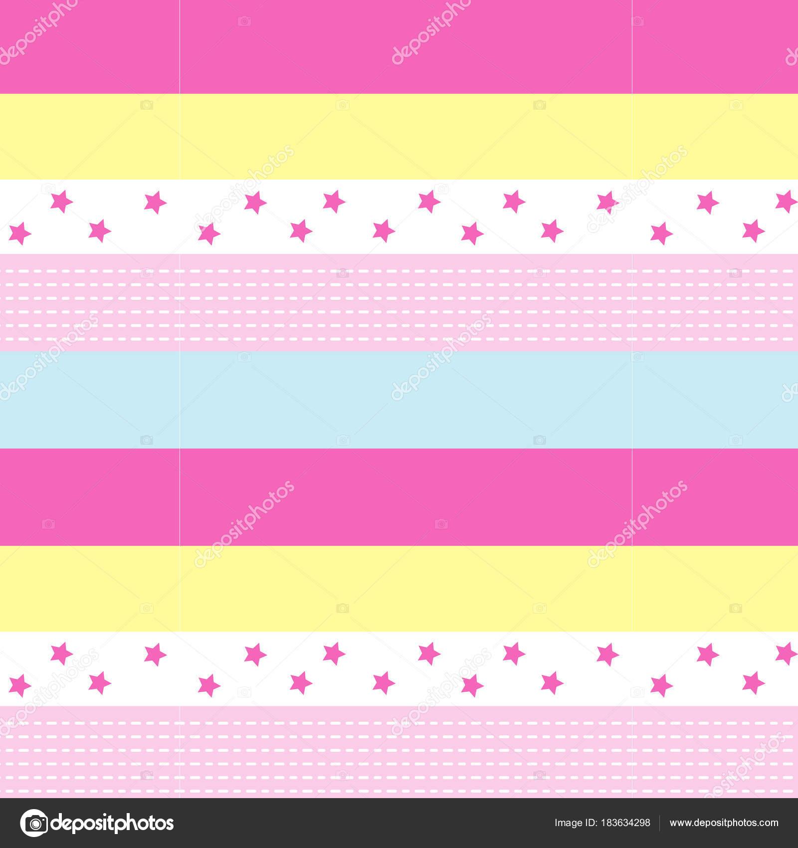 Linea Tratteggiata Polka Rosa Di Stelle E Bianco Su Pastello Rosa A