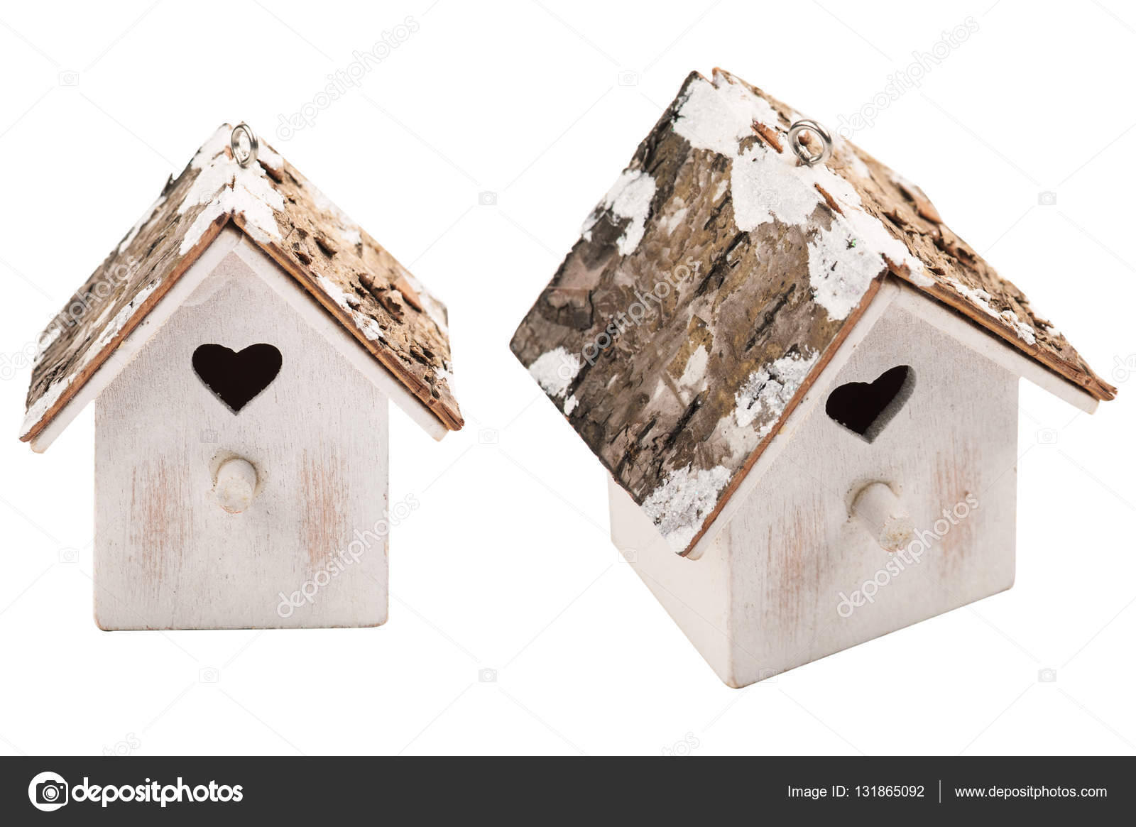 christmas decoration wooden bird house isolated on white background photo by irinabort - Bird House Christmas Decoration