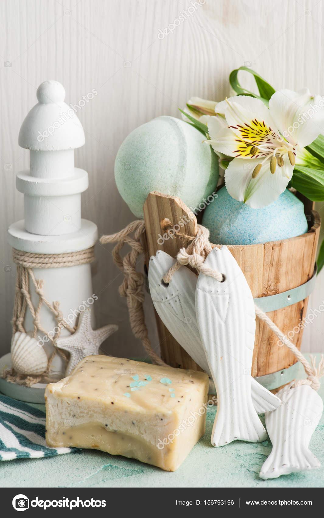 Bath Bomb Soap And Decorative Lighthouse Stock Photo C Irinabort