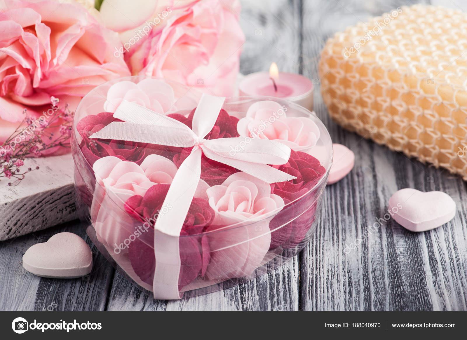 SPA set with roses, bath soap — Stock Photo © irinabort #188040970
