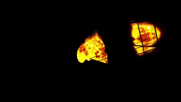 Burning ball of lava background. Piece of fiery magma rolls down the mirror stairs