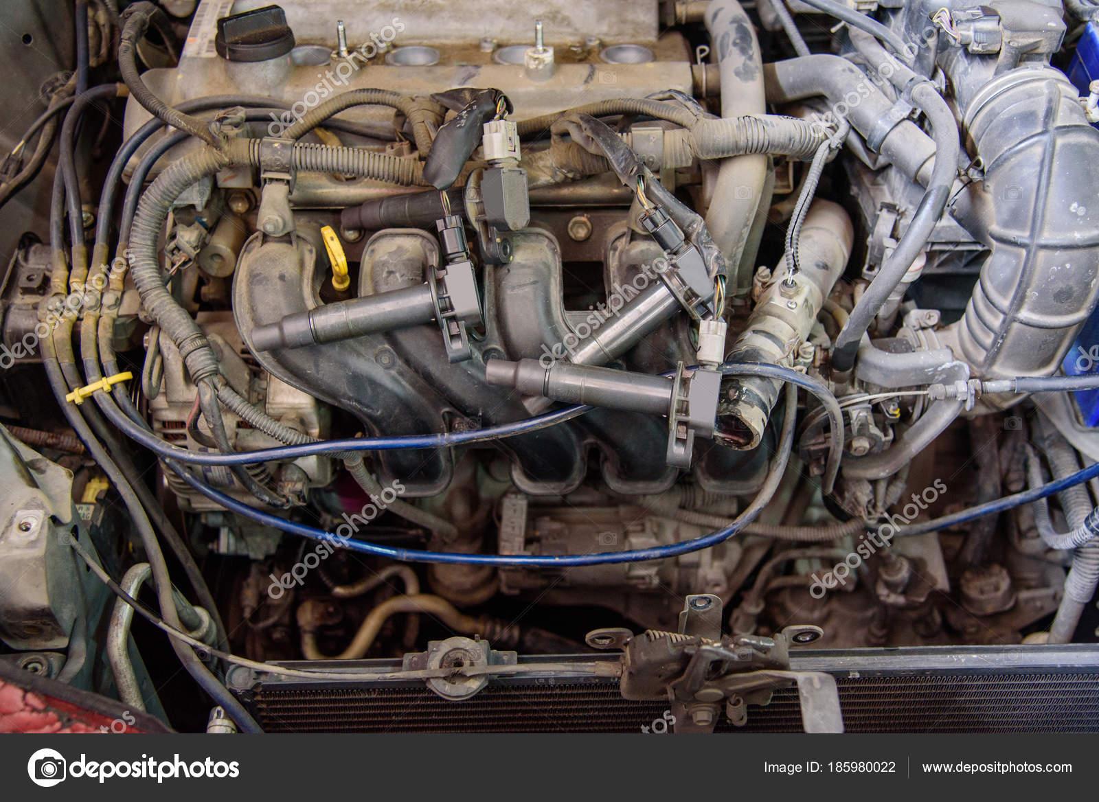 Alten Automotor Reparatur Alte Motor Des Autos — Stockfoto ...