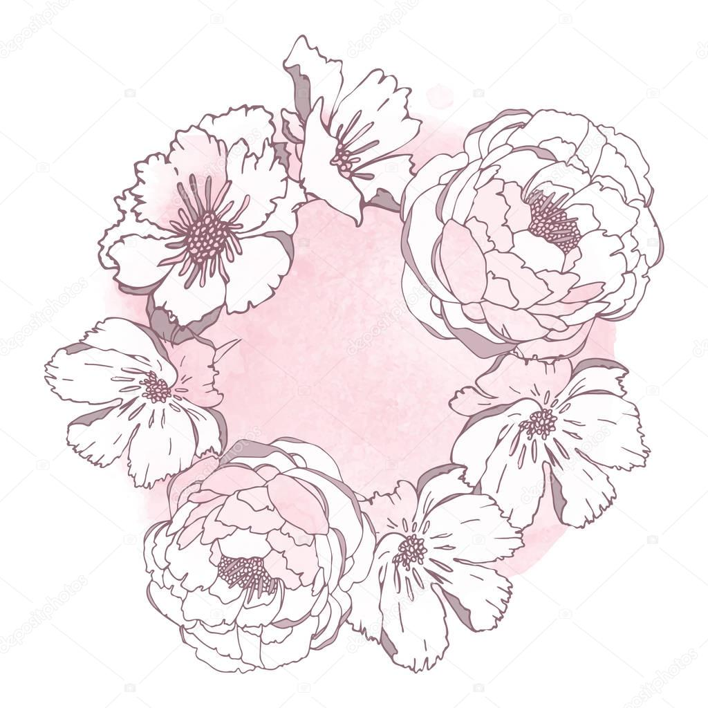 Hand drawn flowers  isolated on white background with watercolor blot.