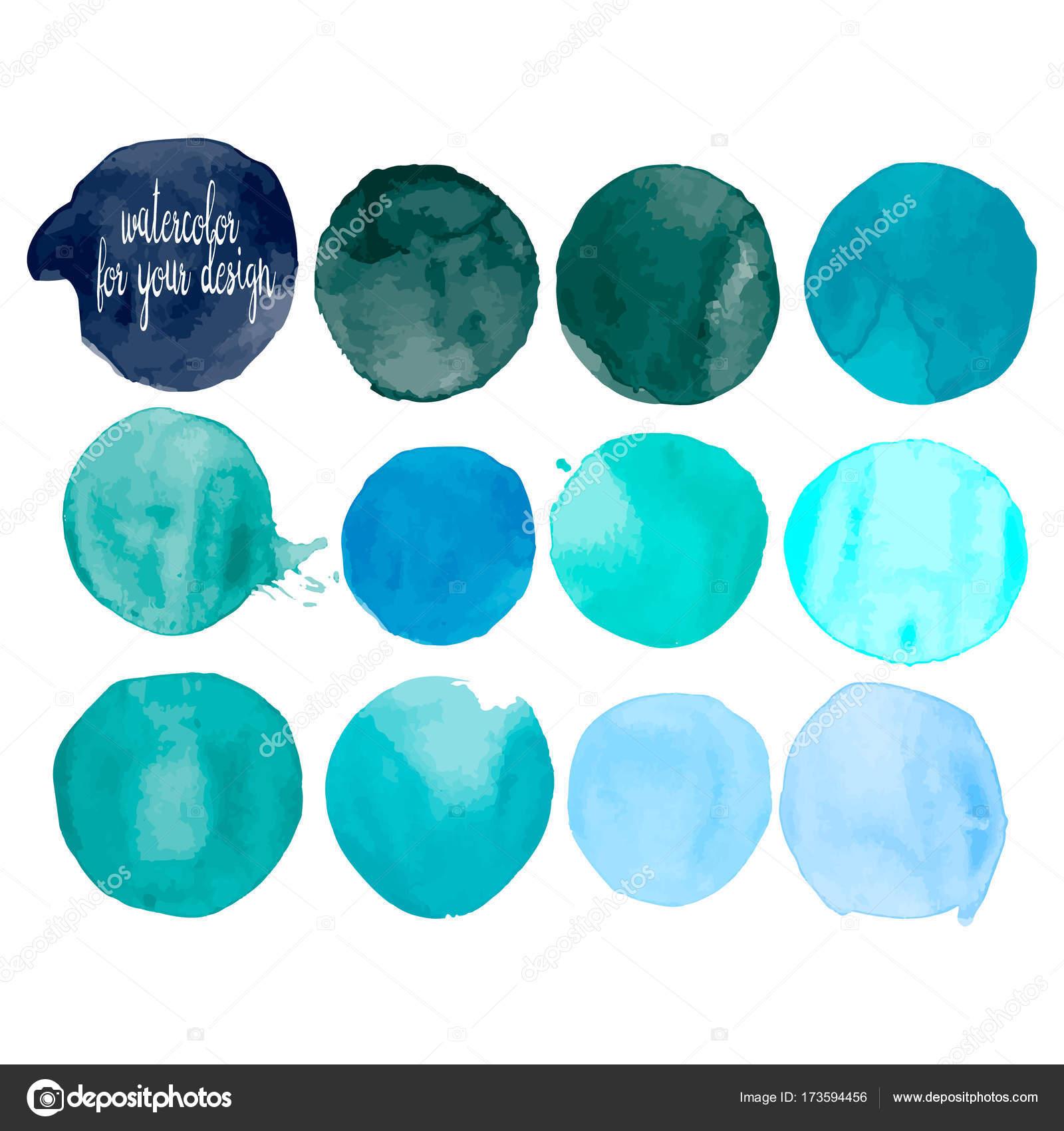 Taches De Peinture Aquarelle De Couleurs Bleu Image Vectorielle