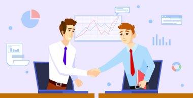Two businessmans shaking hands. Color vector illustration
