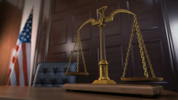 Balancing Scales of Justice in The Court. American Flag in The Background.