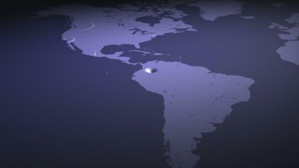 Animovaný svět mapa. Informace a zprávy šíří po zemi. Smyčka