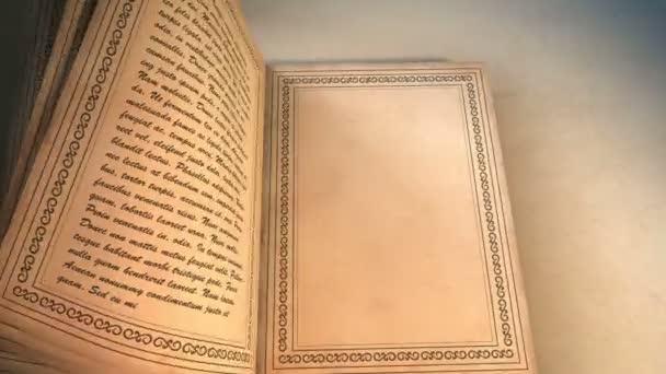 Kůže pokrytá ornamenty ležící na stole kniha. Kniha s obracet stránky. Obsahuje Mate pro přechod.