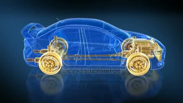 Car and Chassis X-ray/ Blueprint. 360 loopable animation HD.