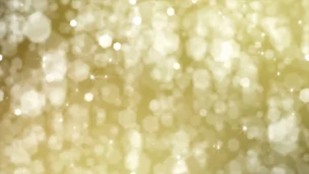 Abstract Background. Defocused stelle doro e fiocchi di neve cadono dal cielo. HD Loopable