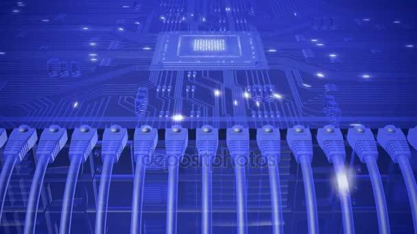 Modernes Netzwerk Server mit Kabeln. HD Endlos wiederholbar