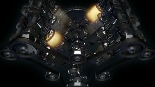 Detailní záběr pracovní V8 motor s explodující efekt paliva. Písty, vačkové hřídele, ventily a další mechanické části jsou v pohybu
