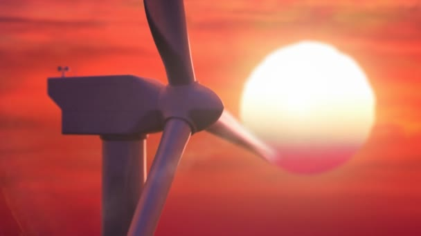 Beautiful windmill turbine harnessing clean, green, wind energy silhouetted in the sunset sky
