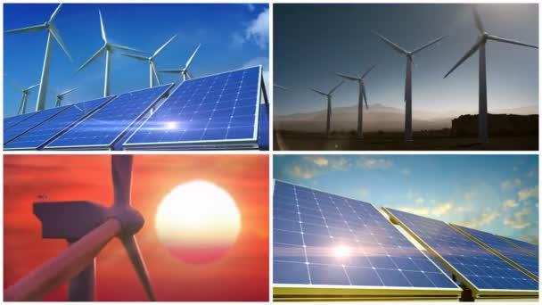 Zelené energie elektřiny větrné turbíny a solární panely.