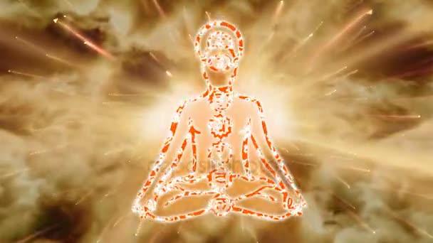 Yoga practice. Meditating Man. Chakras activation. HD