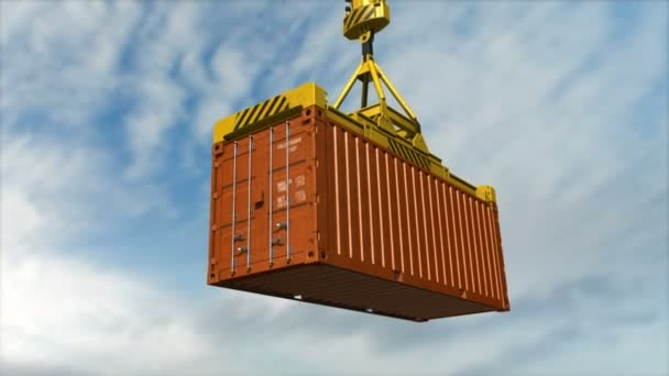 Shipping Container on Crane. Distribution Warehouse, Cargo Container, Commercial Dock, Harbour.