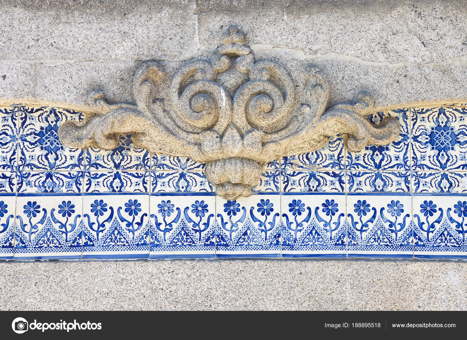 Typical Portuguese decorations with colored ceramic tiles and ba ...