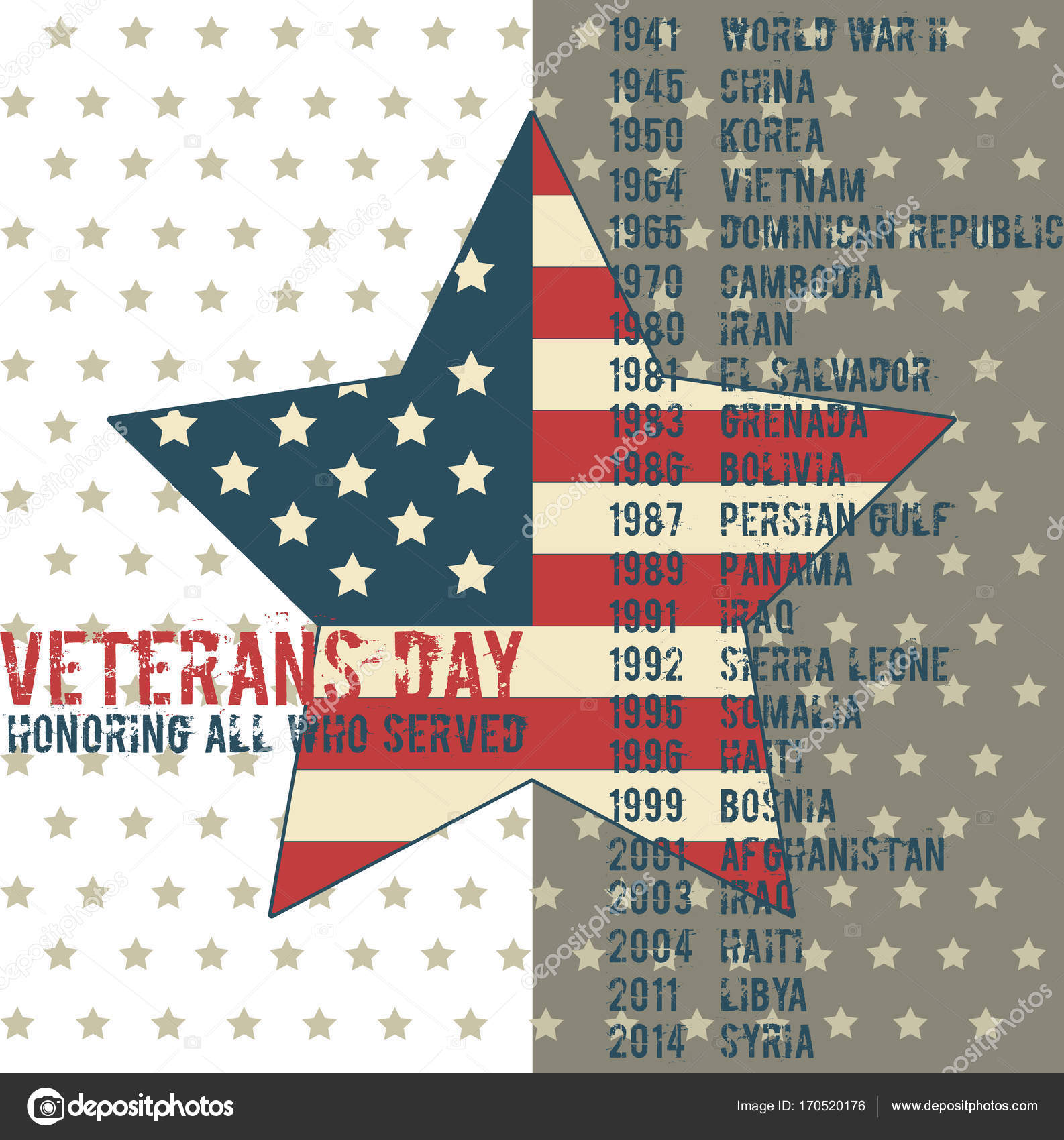 Veterans Day Greeting Card Template Stock Vector Dimaoris 170520176