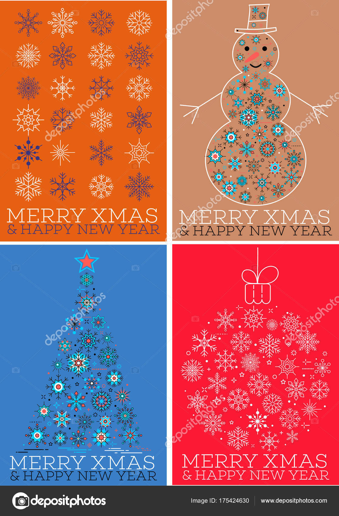 merry xmas and happy new year cards set stock vector
