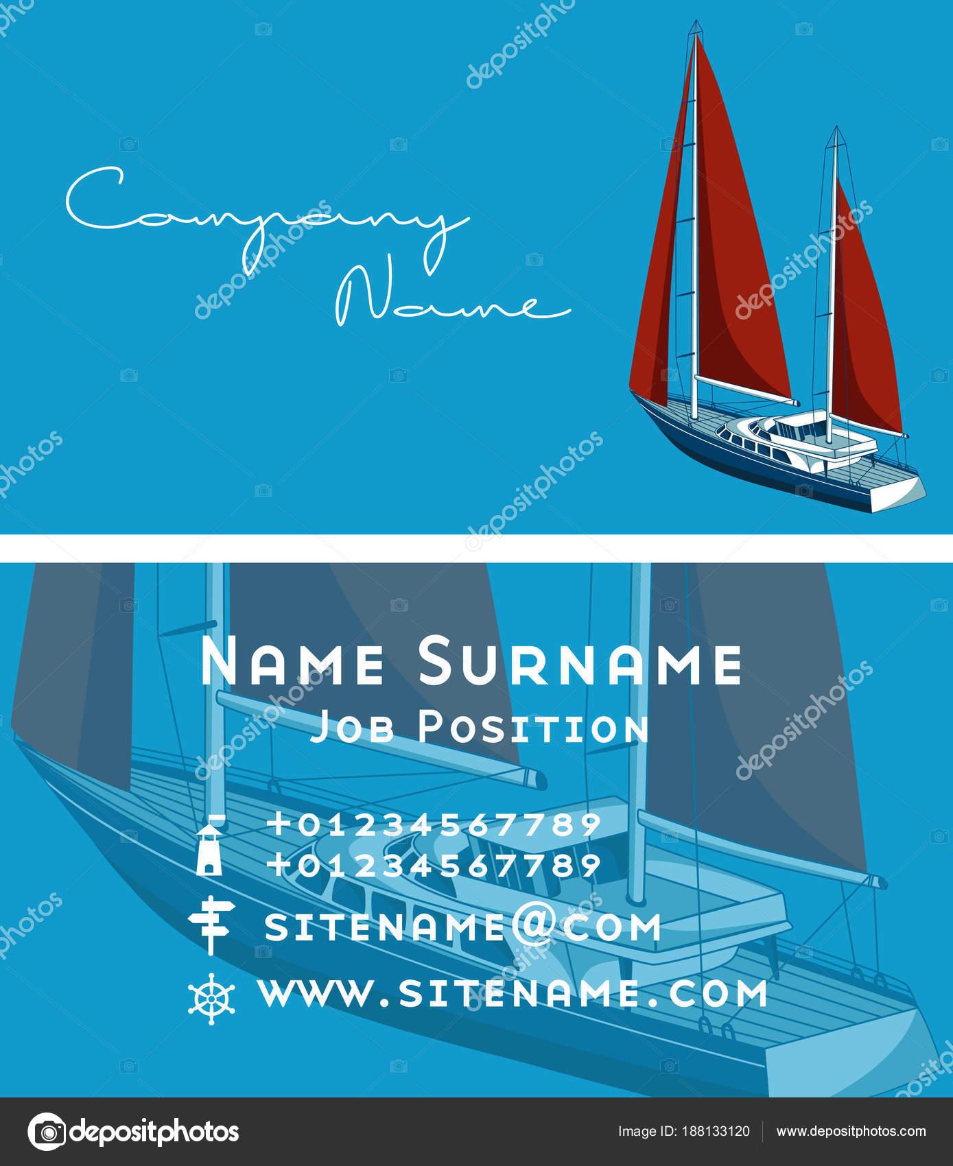Conception De Carte Visite Yacht Club Avec Bateau A Voile Illustration Stock