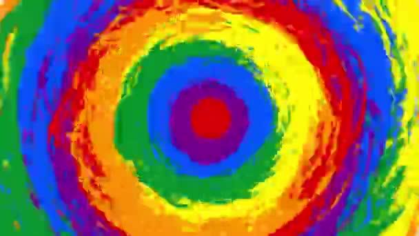 Jasná duhová animace s rotací na kulatých barevných místech. Symbol společenství Lgbt. Barevný přechod barev