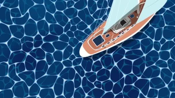 Vela nave cartone animato animazione. Vista dallalto barca a vela su acque profonde blu del mare. Gara yacht di lusso, regata di vela oceanica. Nautica in tutto il mondo yachting o in viaggio. Yacht a vela video clip