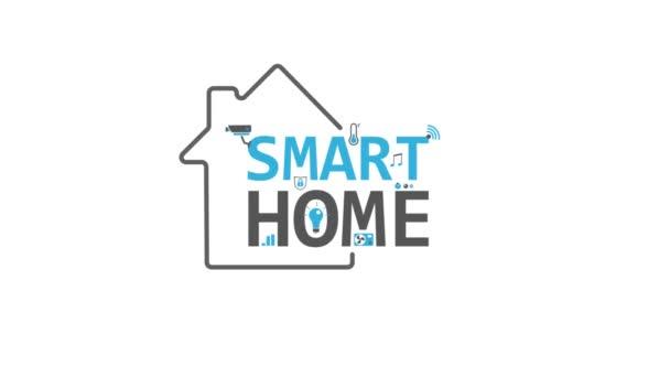 Smart home 2d animace. Domácí automatizace a koncept dálkového ovládání na bílém pozadí. Internetové věci a moderní inteligentní technologie