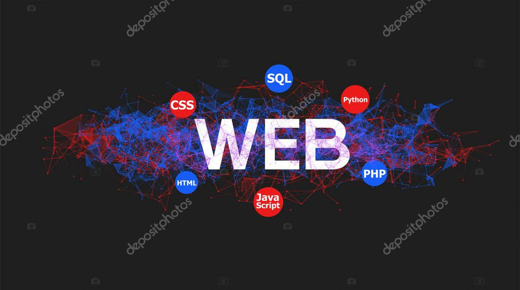 Web Programming Banner With Colorful Plexus Design Software Technology Vector Illustration Online And Offline Courses Of Coding Website Development Front End Engineering Design Premium Vector In Adobe Illustrator Ai Ai