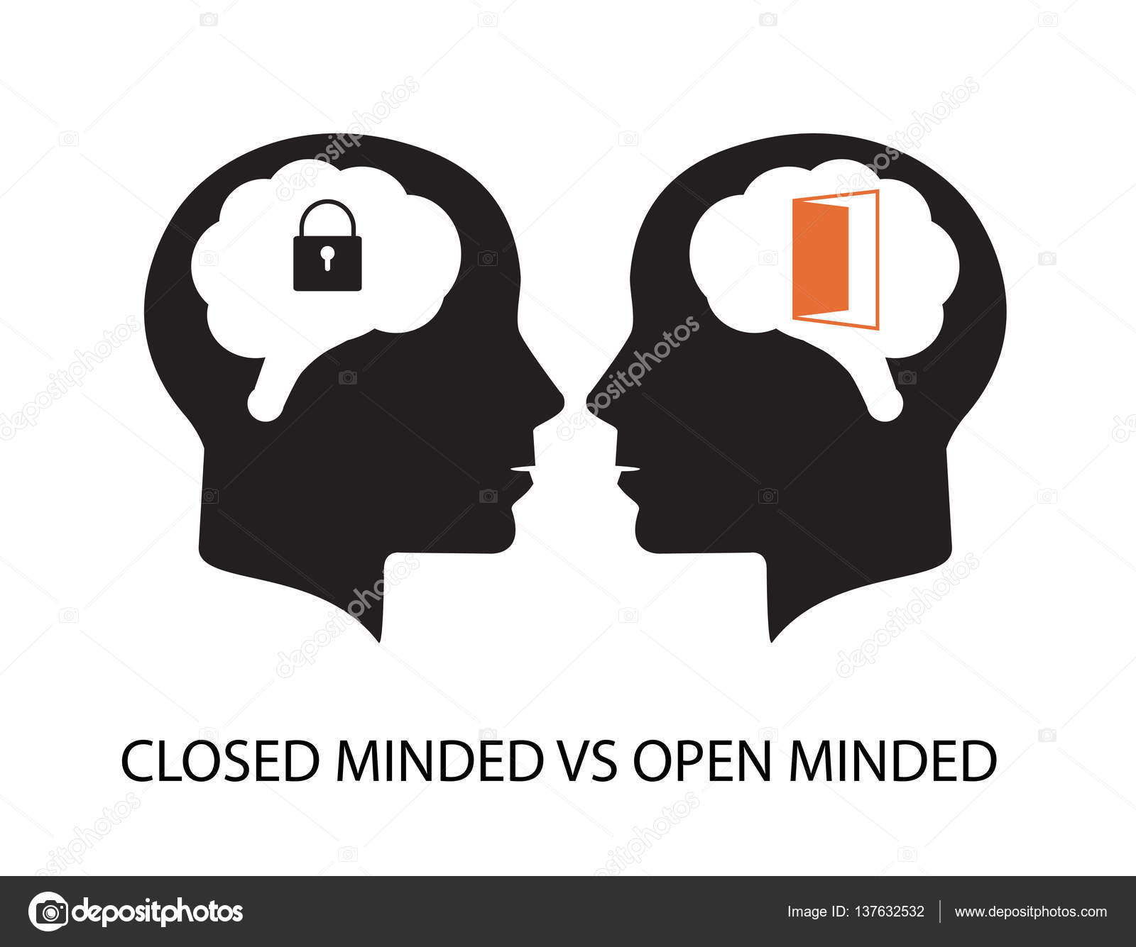 Closed minded vs open minded — Stock Vector © AvezaDesign #137632532