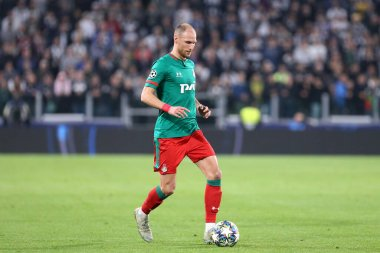 Torino, Italy. 22th October 2019 . Uefa Champions League Group D . Juventus Fc vs Fc Lokomotiv Moskva.  Benedikt Howedes  of Fc Lokomotiv Moskva.