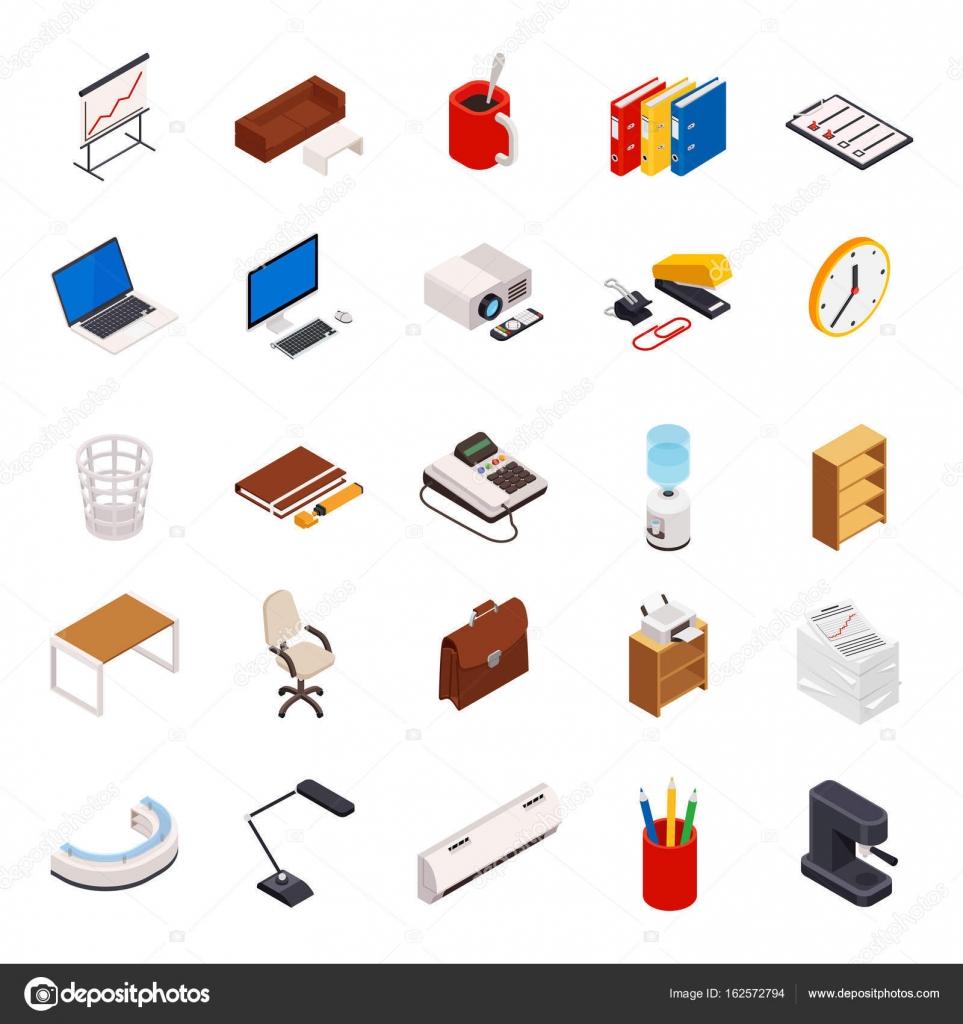 3d isom trica conjunto de iconos sobre un tema de equipo for Equipo de oficina