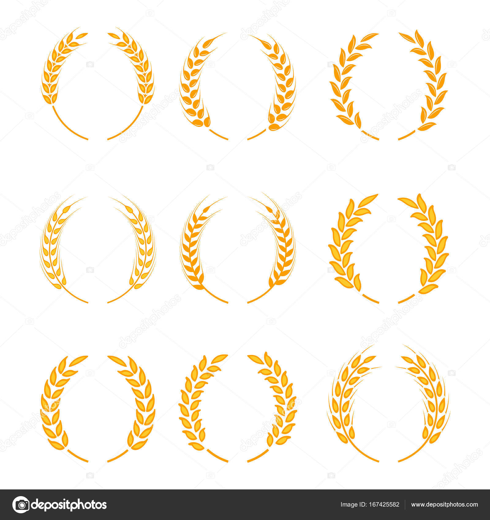 Gold laurel wreath a symbol of the winner wheat ears or rice gold laurel wreath a symbol of the winner wheat ears or rice icons set buycottarizona Image collections