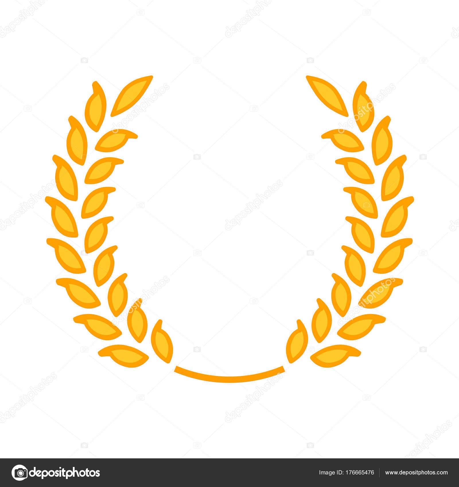 Gold laurel wreath a symbol of the winner wheat ears icon gold laurel wreath a symbol of the winner wheat ears icon stock buycottarizona Image collections