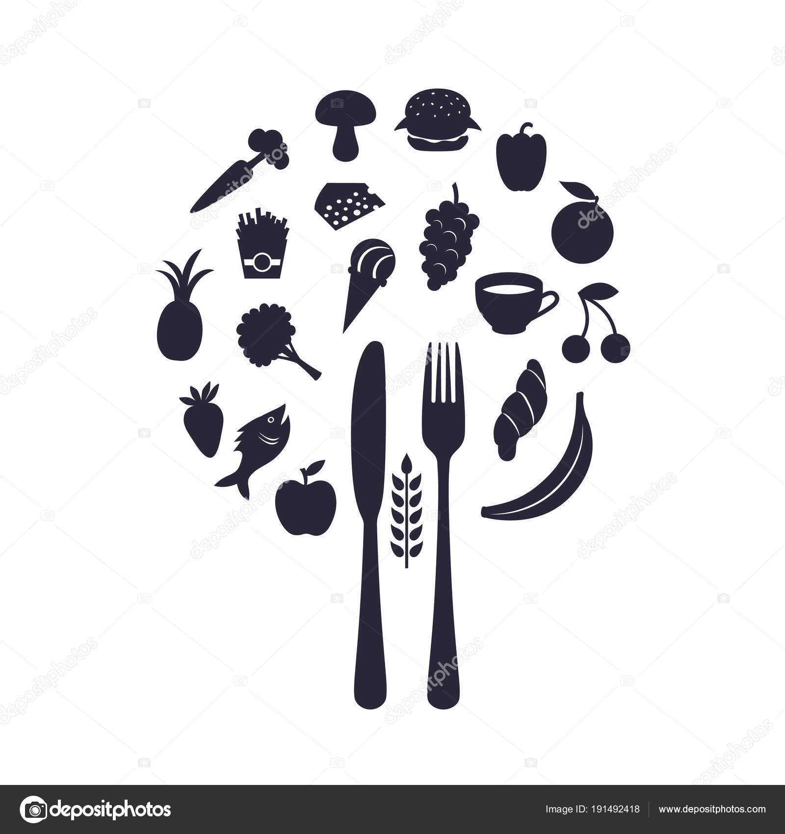 Restaurant Food Icons In Form Of Sphere With Fork And Knife