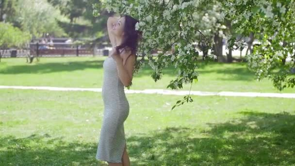 young woman enjoying in the background of the tree