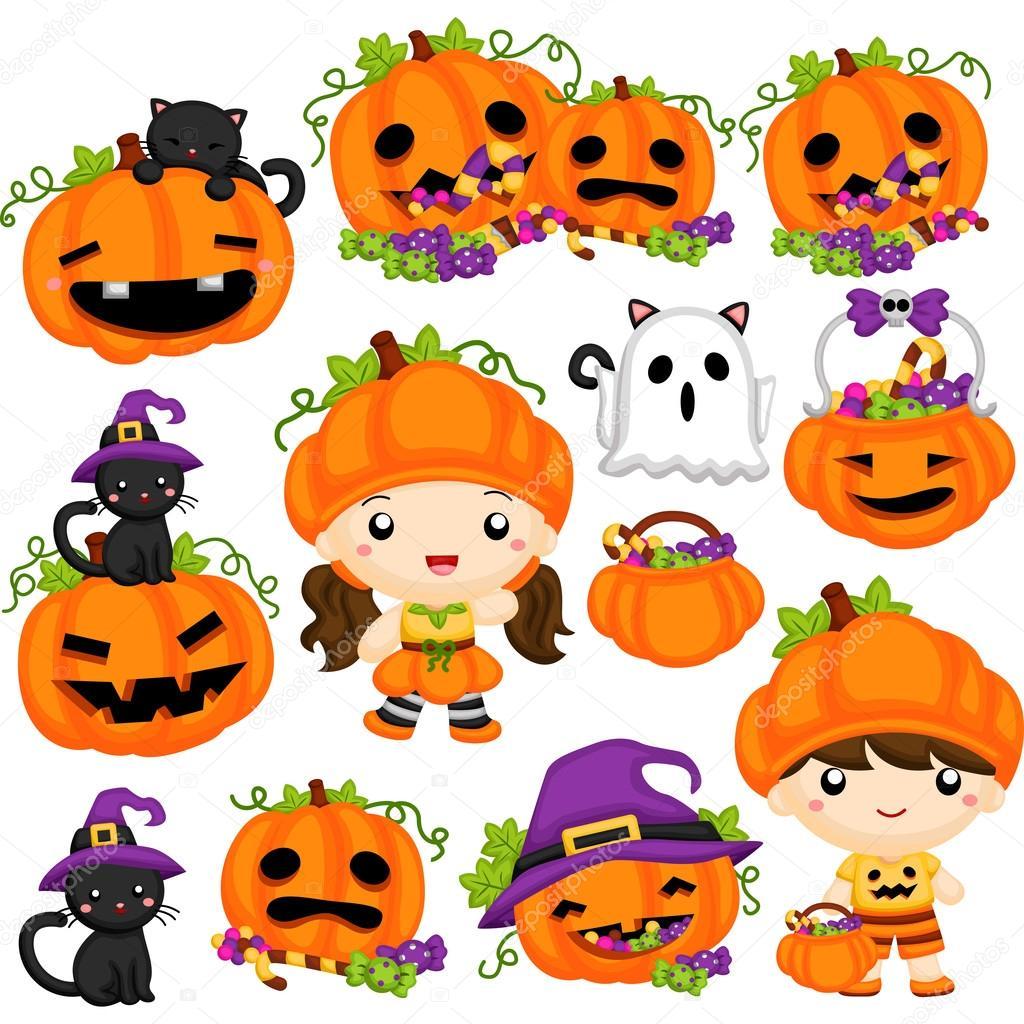 Halloween Pumpkin clipart set — Stock Vector © comodo777 #127526702