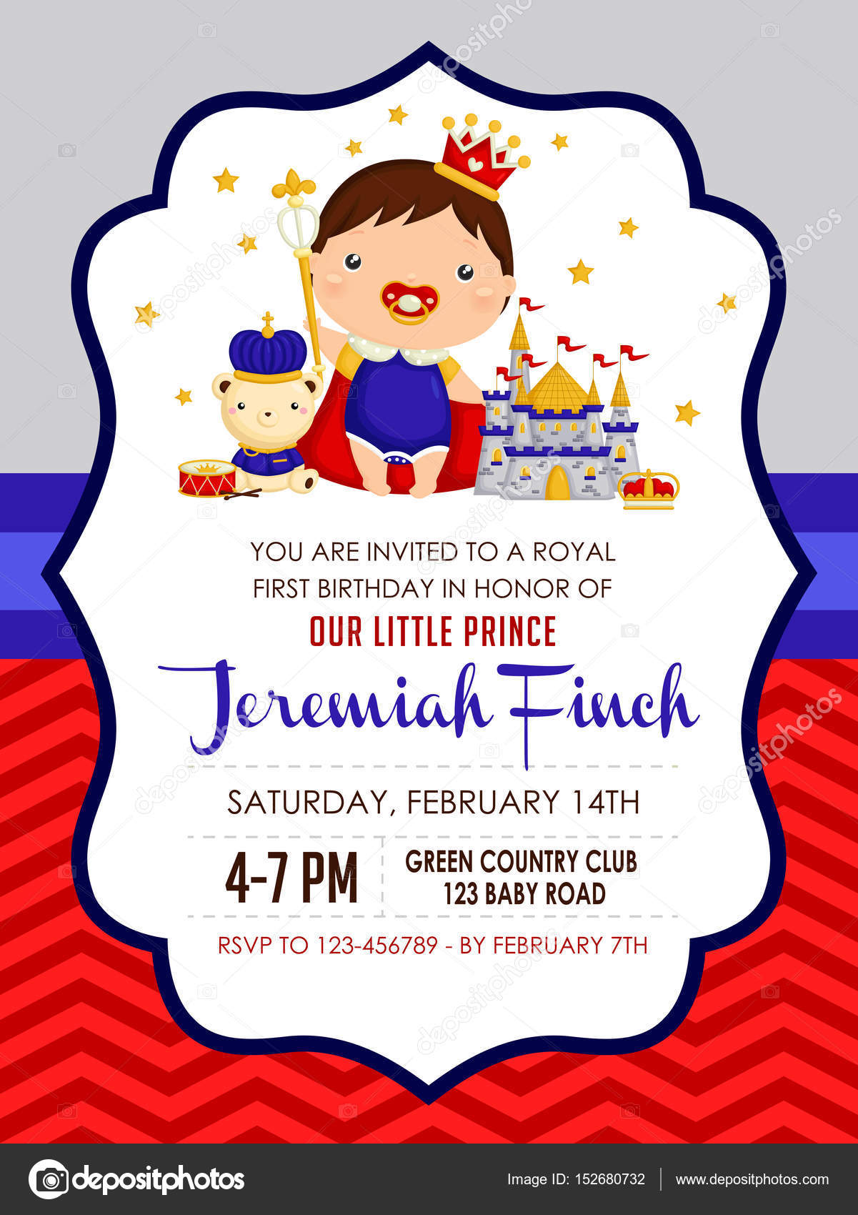Baby boy Prince Birthday Invitation — Stock Vector © comodo777 ...