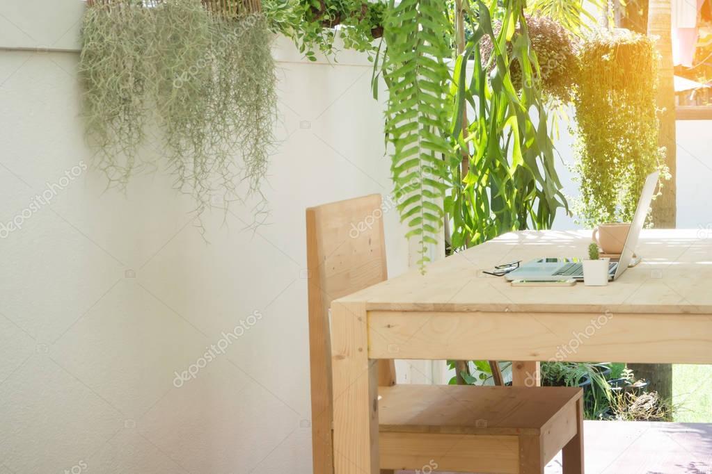 Büro Holz Tisch Und Stuhl Garten Natürliche Arbeit Am Ort
