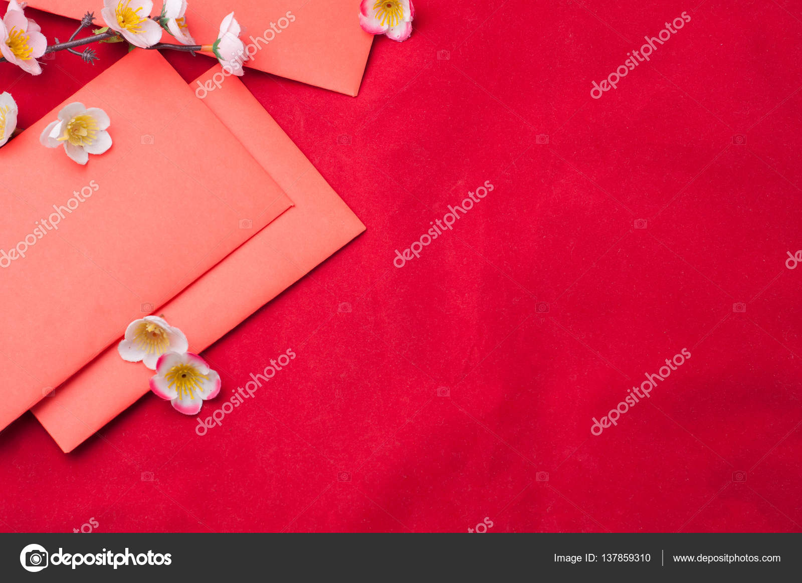 celebrate chinese new year background with red envelope and beautiful blossom flower photo by awaygy