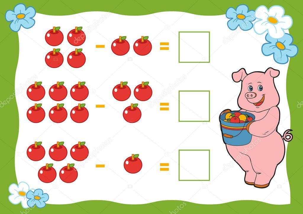 Zählen Spiel für Kinder. Subtraktion Arbeitsblätter. Schwein und ...