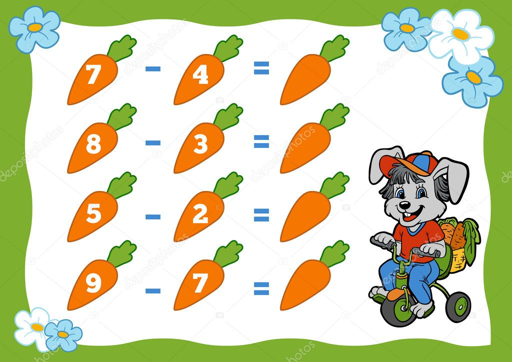 Counting Game For Children Subtraction Worksheets Rabbit And. Counting Game For Children Subtraction Worksheets Rabbit And Carrots Stock Vector. Worksheet. Subtraction Worksheet Games At Mspartners.co