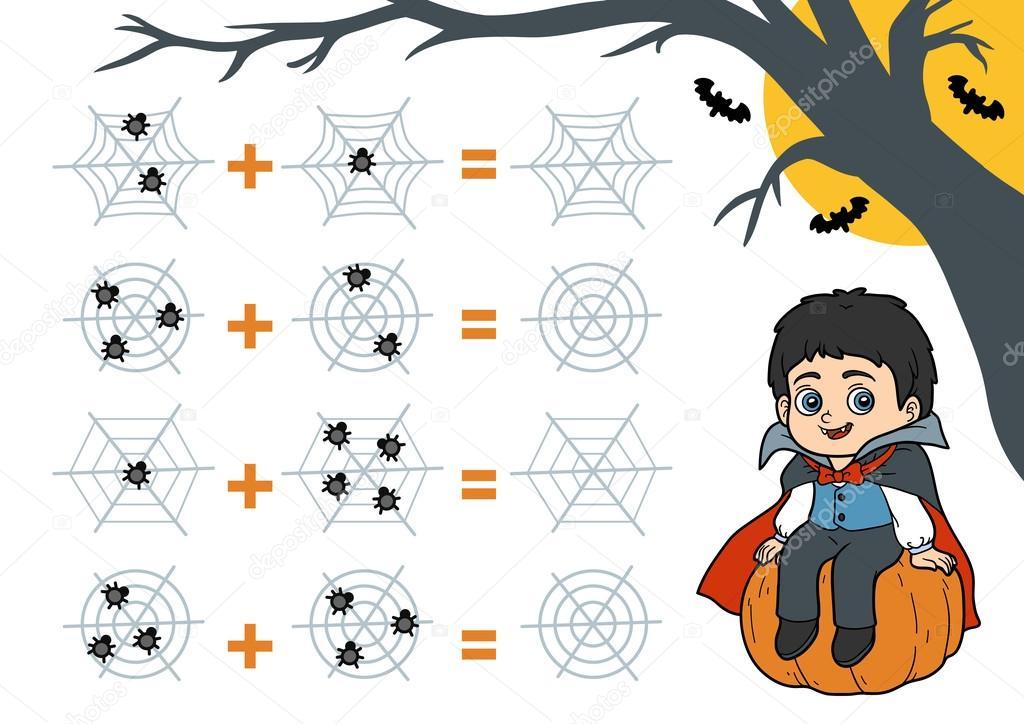 Spiel für Kinder im Vorschulalter zu zählen. Halloween-Figuren ...