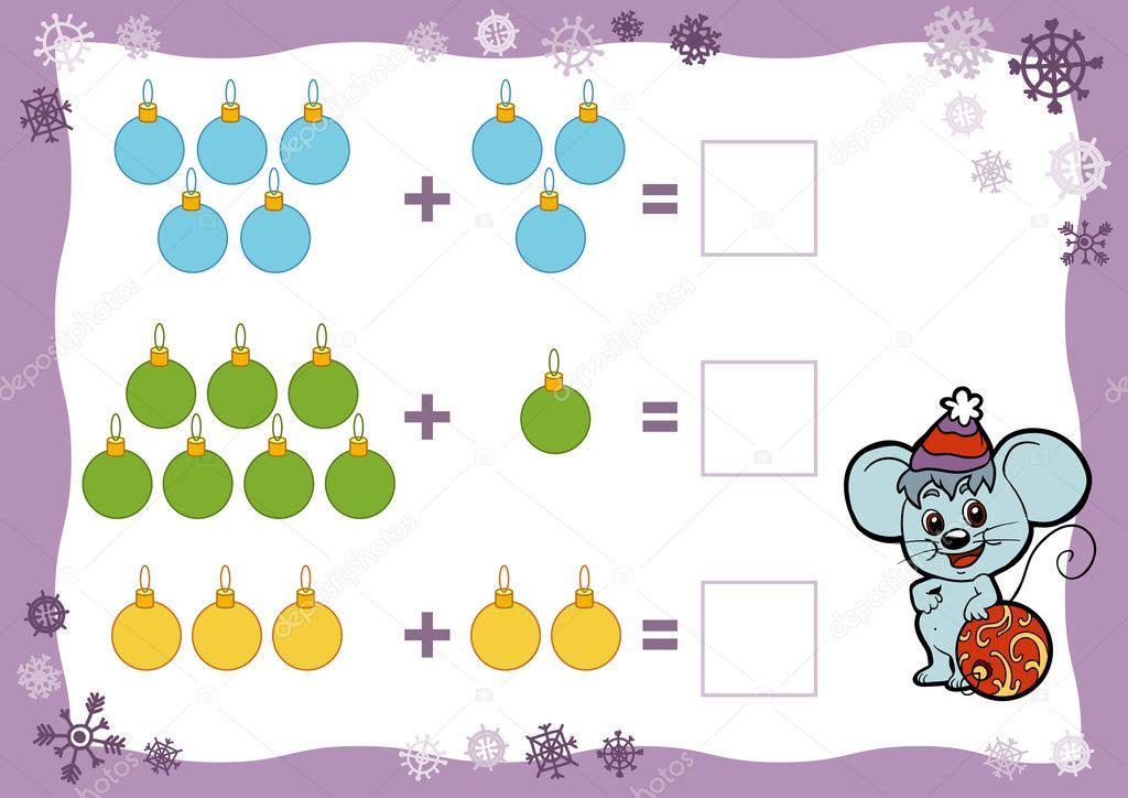 Zählen Spiel für Kinder. Zusatz-Arbeitsblätter. Weihnachten ...