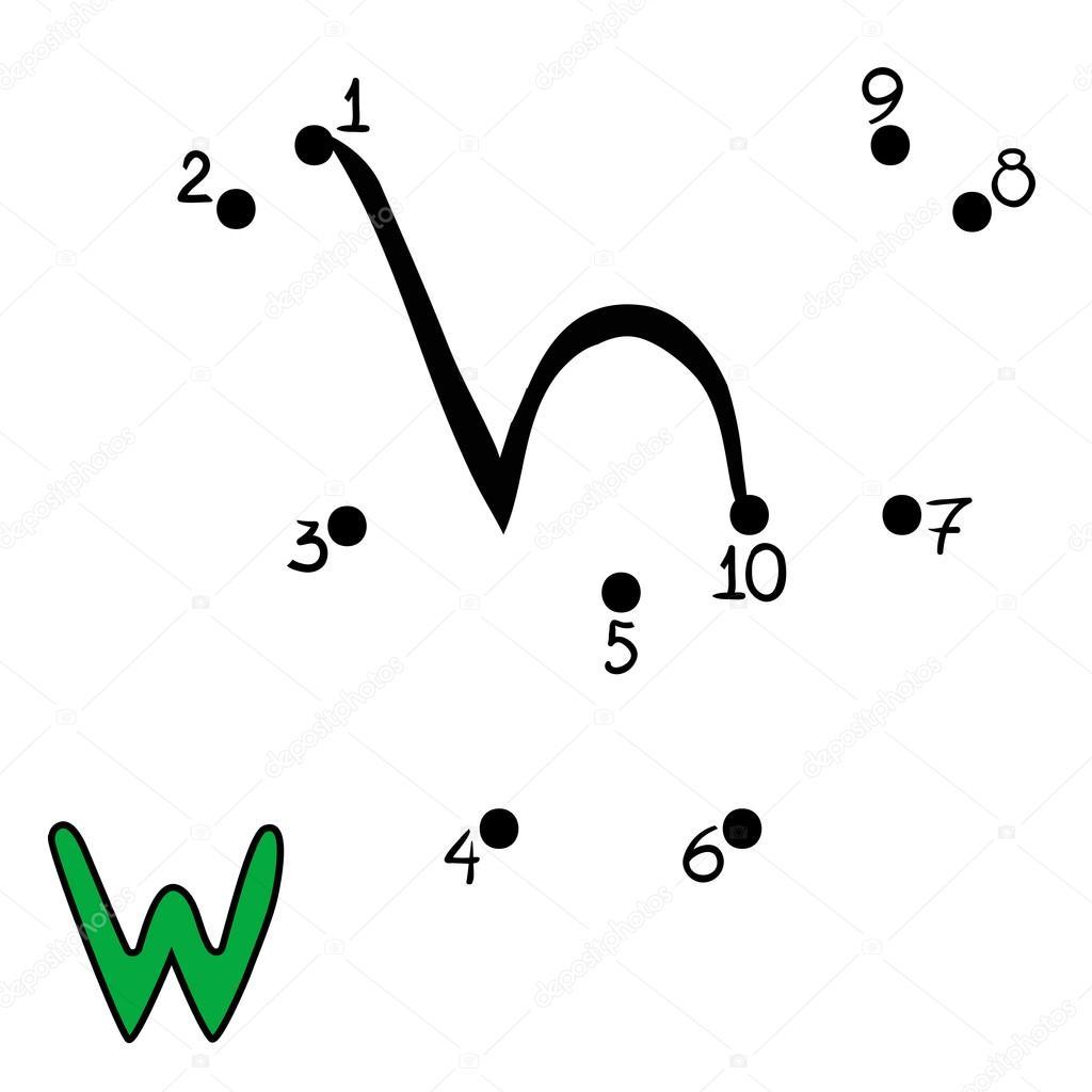 Spiel mit Zahlen, Buchstaben W — Stockvektor © ksenya_savva #124909192