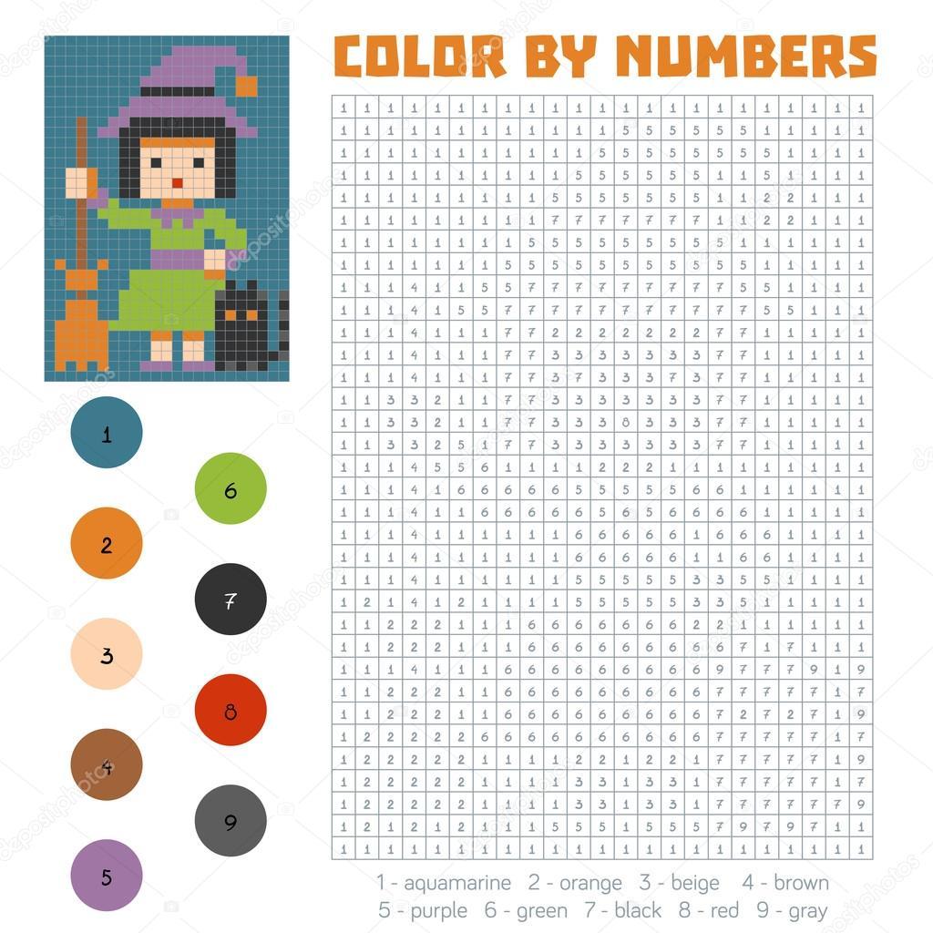 Número, bruja de colores — Vector de stock © ksenya_savva #124909218